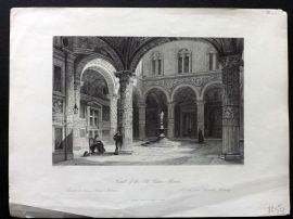 Wright Italy 1846 Antique Print. Court of the Old Palace, Florence